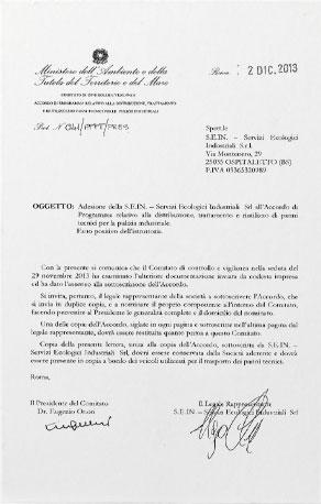 Panni tecnici per pulizie industriali - Certificato di adesione